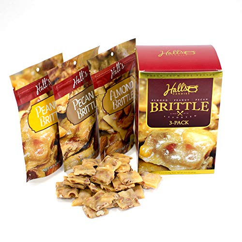 - Hall's Assorted Brittle Variety Pack, 3.5 Oz Bags (Pack of 3), Peanut Brittle - Almond Brittle - Pecan Brittle