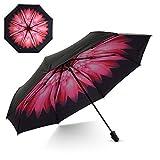 Flexzion Small Travel UV Sun & Rain Umbrella - Windproof & Sun UV Protection Screen Shade Block Compact Mini Portable Folding Umbrella with Handle Wrist Strap and Carrying Bag (Blue ICY Flower)