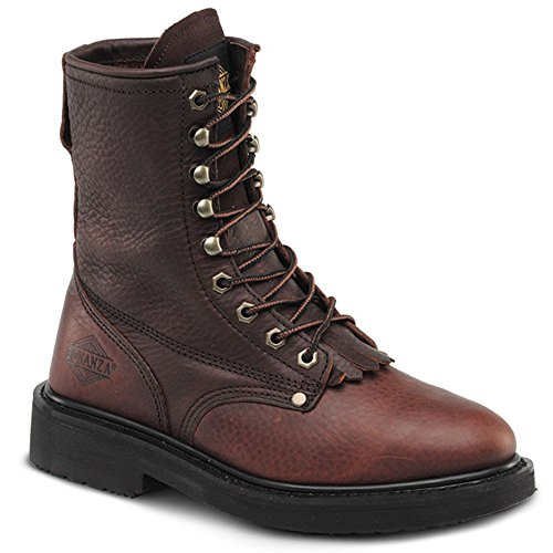 Tactical Safety Essentials Bonanza Boots Work Safety Outdoor Shoes Full-Grain Oil Tumbled Leather Uppers, Unlined, Moisture-Absorebent Footbed, Oil-Resistant Polyurethane 817 Kiltie Lacer Goodyear Welt Construction Steel Toe Boots 8