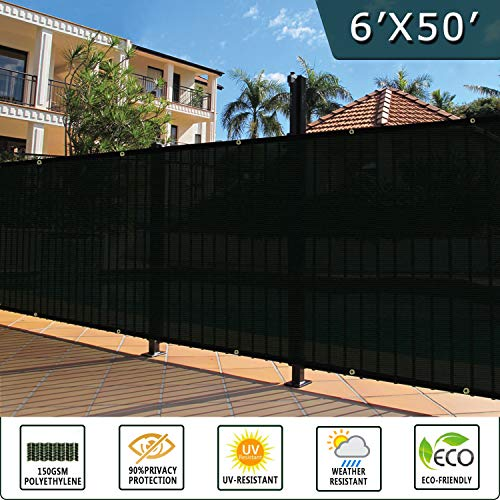 Shade&Beyond 6' x 50' Privacy Fence Screen Black Heavy Duty 150 GSM Fencing Mesh Shade Net Cover for Wall Garden Yard Backyard Indoor Outdoor Home ()