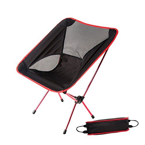 HASLE OUTFITTERS Portable Camping Chairs, Hiking Camping Chair, Moon Leisure Chair, Outdoor Folding Backpacking Chairs for Travel, Picnic, Hiking Red
