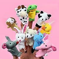 H&H 10 títeres de Dedos de animalitos de Granja. Colores al Azar. 10 PCS Story Telling Kids Puppets Cute Zoo Farm Animal Cartoon Finger Plush Toy Hand Dolls, Random Color Delivery.