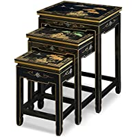 China Furniture Online Black Lacquer Nesting Table, Hand Painted Chinese Mountain Landscape Set of 3 Table