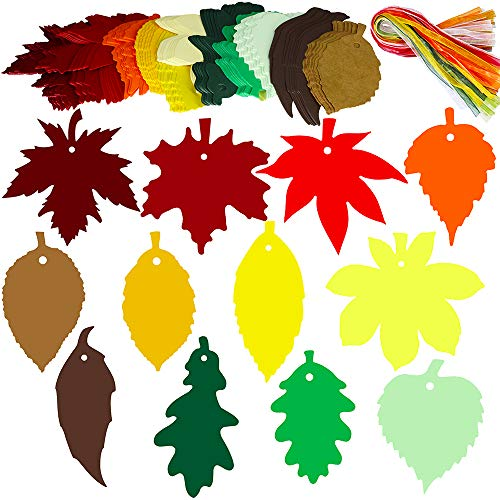 Fall Leaf Crafts (Supla 120 PCS 12 Styles Maple Leaf Fall Die Cuts Leaf Cut Outs with Holes Hang Tags with Strings Attached Favor Tags Gift Tags Treats Tags with Ribbons for Fall)
