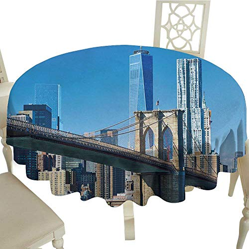 HeKua United States,Picnic Round Covers Lower Manhattan Skyline Brooklyn Bridge in New York City Famous Landmark Tablecloth for Dinner Parties Pale Blue Tan D -