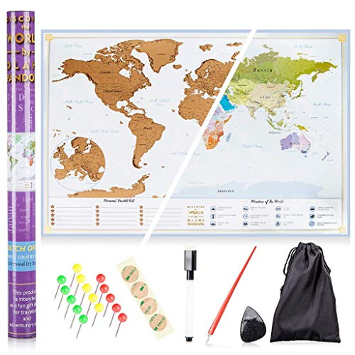 XL Scratch Off Map of The World – Bucket List Features | Wonders of The World | Detailed US States & International Cities | Excellent Wanderlust Themed Travel Gift by Olahs Pandora Photo #4