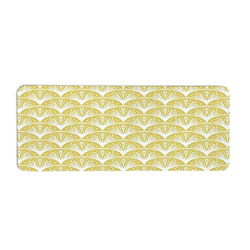 TecBillion Yellow and White Fashionable Long Door Mat,Rounded Floral Motifs Overlapping Pattern 20s 30s Bohemian Simple for Home Office,23.6