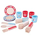 Bigjigs Toys BJ617 Wooden Dinnerware Set-Pretend and Role Play for Children