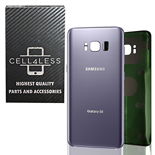 CELL4LESS Replacement Back Glass Cover Back Battery Door w/Pre-Installed Adhesive Samsung Galaxy S8 OEM - All Models G950 All Carriers- 2 Logo - OEM Replacement (Orchid Grey)