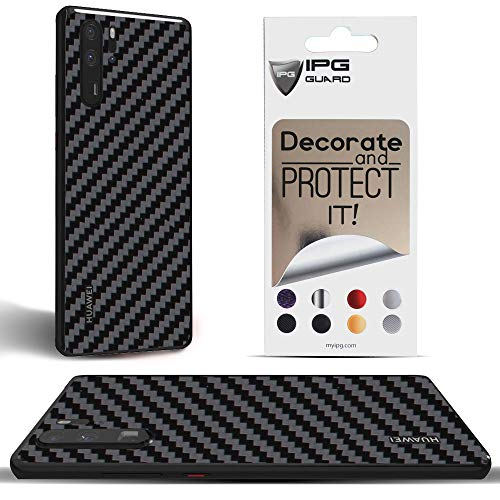 IPG for Huawei P30 PRO Decorative Carbon Fiber Vinyl Back Protector Anti Scratch Skin Guard - 3D Surface - Bubble -Free Easy to Install (Black Carbon Fiber)