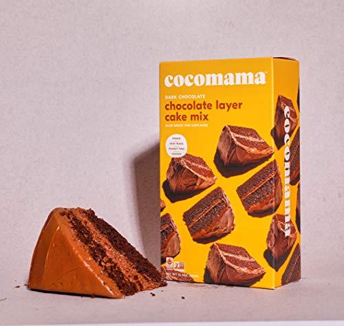Cocomama Dark Chocolate Layer Cake Mix - Vegan Chocolate Baking Mix, Organic Fair Trade Cocoa Powder, Vanilla Bean, Non GMO, Kosher, 15.3 oz