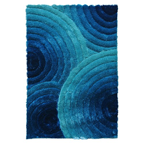 Blazing Needles Concentric Waves Textured Gradated Shag Rug, 5-Feet by 7-Feet, Aqua Blue/Dark Blue