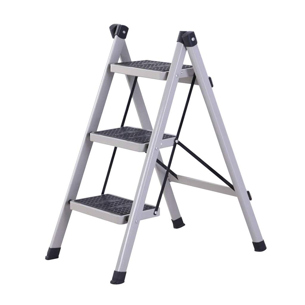 Household Folding Ladder, 3-step Ladder, Light Weight, Maximum Load Bearing Capacity Up to 100Kg TAO LU SHOP (color : Blue, Size : 48x69x88cm)