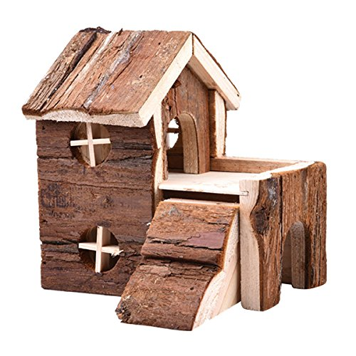 bouti1583 Double Layers Hamster House Wooden Small Animals Pet Rats Gerbil Hideout Wood Hut Chews - Wood Hamster Hut