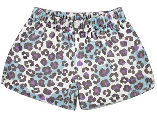 iscream Big Girls Silky Soft Print Plush Shorts - Snow Leopard, Small (6/8)