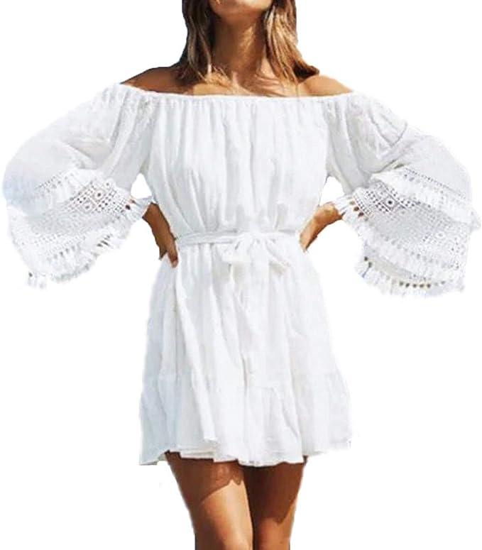 Damen Boho Sommer Kleider Minikleid Strand Freizeit Shirtkleid Lose Tunikakleid