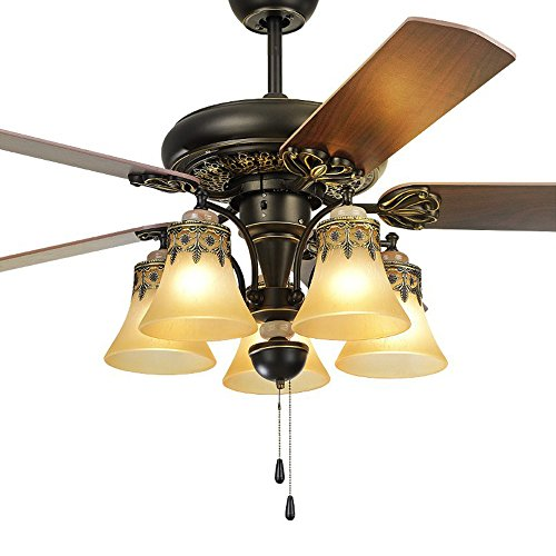 Andersonlight Ceiling Fan Lights Kit Floral Pattern Hand Painted 5 Wooden Reverse Blades Oil Rubbed Bronze Retro Indoor 52 Inch HJJ0187 (Painted Hand Reverse Glass)