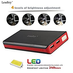 Power Bank Leadtry 20000mah External Battery with Powerful Dual USB Port Portable Charger Backup Pack Build in Flash Light for Iphone 6s 6 Plus, Ipad and Samsung Smart Phone, Tablet Pcs (Black)
