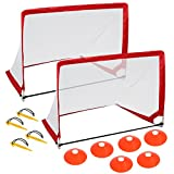 HomGarden Pop Up Soccer Goals Set of 2 Portable Soccer Target Nets for Backyard, Park or Training w/6 Cones & Carry Bag – Practice Soccer Goal Football Nets for Kids, 4′ Square Review