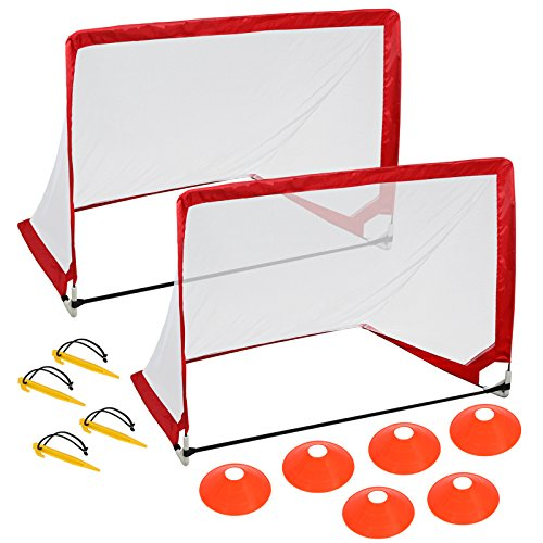 HomGarden Pop Up Soccer Goals Set of 2 Portable Soccer Target Nets for Backyard, Park or Training w/6 Cones & Carry Bag - Practice Soccer Goal Football Nets for Kids, 4' Square