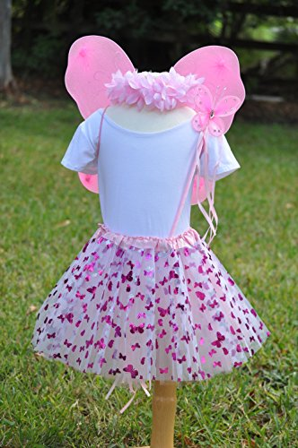 Girls Pink Butterfly Fairy Costume with Wings, Wand and Halo by Fairytale Play (Image #1)