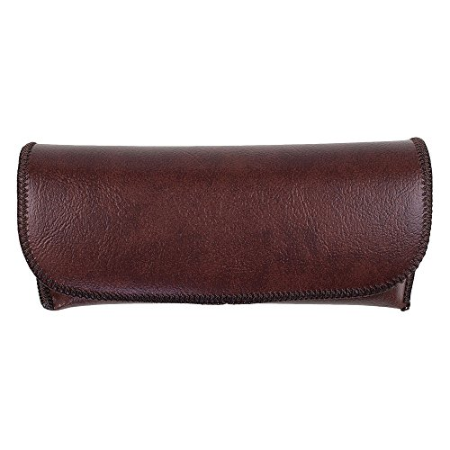 Semi Hard Eyeglass Case - Brown Protective PVC Leather Style Shell Glasses Holder with Velcro Closure - by - Savvy Frames Eyeglass
