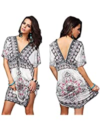 HFQLF Womens Vintage Tunic V-Neck Dress Beach Cover-up with Free Gift Bracelet
