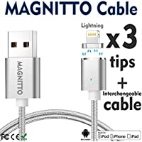Lightning Cable, iPhone USB Charging Cable MAGNITTO Magnetic USB charger cord+3 Lightning Adapters, Nylon Braided Cord Premium Durable for iPhone X / 8 / 8 Plus / 7 / 7 Plus / 6 / 6 Plus / 5S GEN2