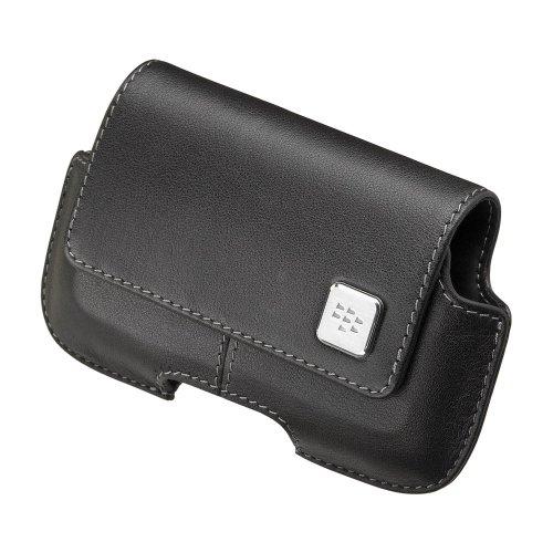 BlackBerry Leather Horizontal Holster for BlackBerry Storm 9500 (Black) (9500 Leather Holster Swivel)