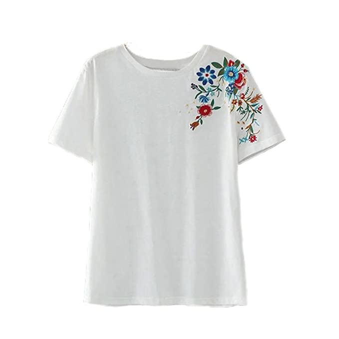 Amazon.com: Teresamoon Women Flower Embroidery Casual Tops (L, White): Home & Kitchen