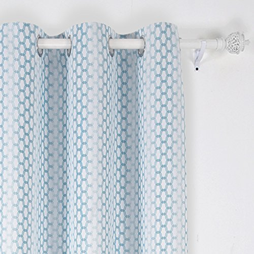 White And Teal Curtains Amazon Com
