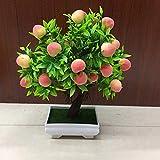Lx10tqy 1 Pieza en Maceta de Color Vivo Artificial de melocotón árbol de Frutas bonsái hogar jardín computadora decoración Prop, Multicolor, 1