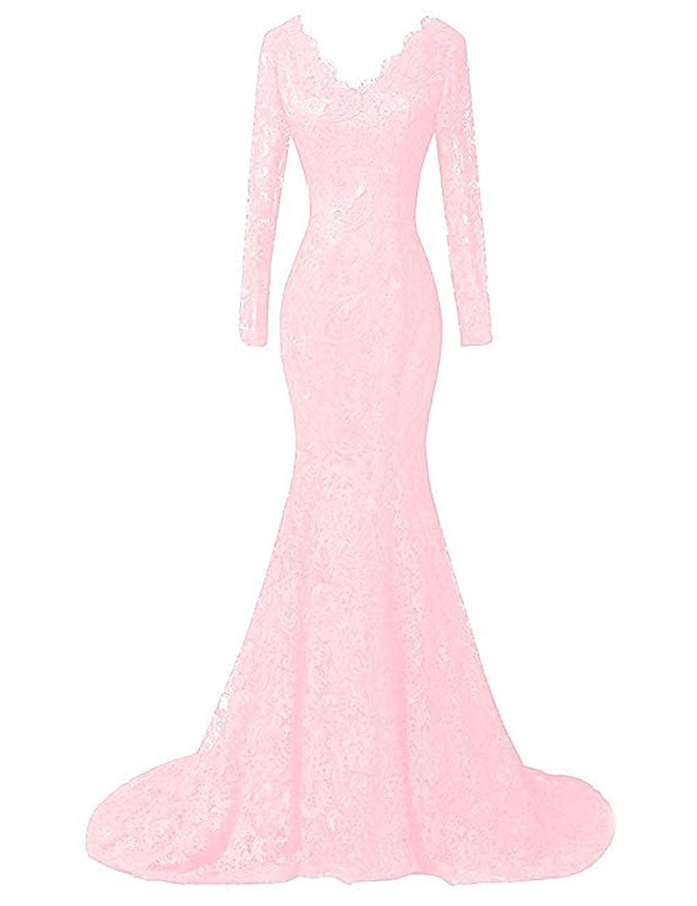 blueshing Pink Ri Yun Women's Elegant Long Sleeves Lace Prom Dresses Mermaid VNeck Beaded Formal Evening Party Gowns