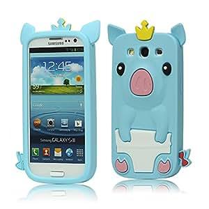 Carcasa de silicona con dibujo en relieve de cerdo para Samsung Galaxy S 3 / III I9300. Azul