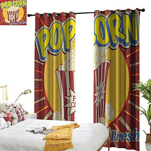 Littletonhome Exclusive Home Curtains Retro Vintage Grunge Pop Corn Commercial Print Old Fashioned Cinema Movie Film Snack Artsy Privacy Protection W84 x L96 Multicolor