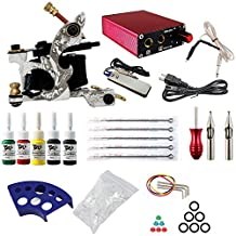 ITATOO® Complete Tattoo Kit 1 Tattoo Machines 5 Inks Power Supply 5 Tattoo Needles for Beginners TK104013