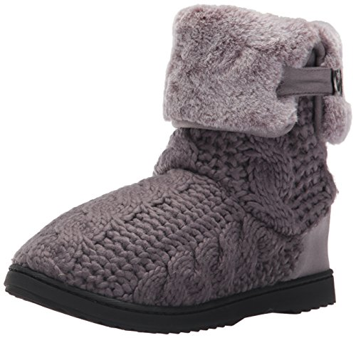 Dearfoams Women's Cable Knit Boot w Plush Cuff, Excalibur, XL Medium US Excalibur Cables