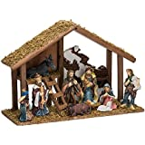 Kurt Adler Nativity Set with 15-Inch Wooden Stable and 10 Resin Figures