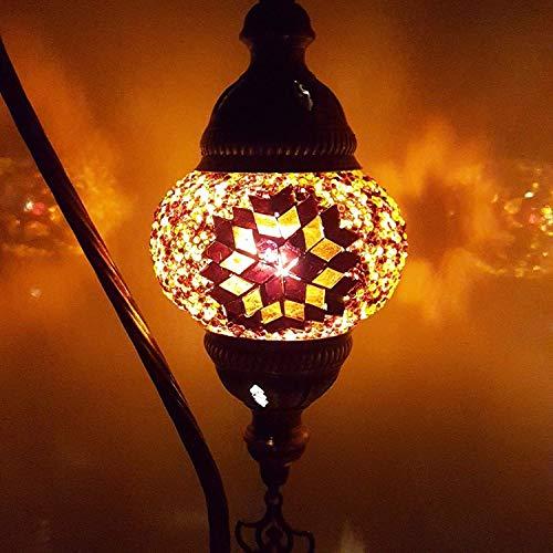 Handmade Turkish Moroccan Arabian Eastern Bohemian Tiffany Style Glass Mosaic Colourful Table Desk Lamp Lamps Home Decor (SM3) by LaModaHome