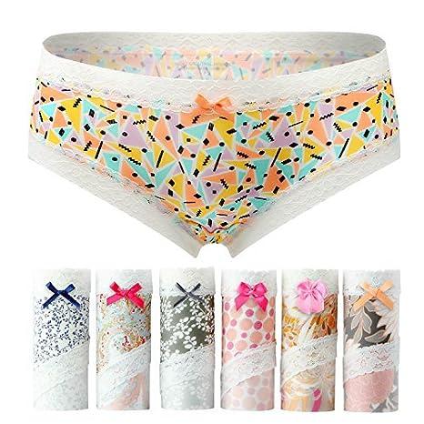 1a075670942 Ning store 6 Pack Women s No Show Panty Bikini Underwear Girls Hiphugger  Panties at Amazon Women s Clothing store