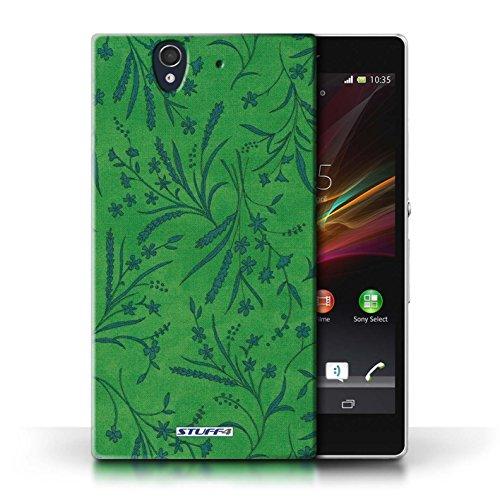 Etui pour Sony Xperia Z / Vert/Bleu conception / Collection de Motif floral blé
