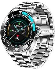 LIGE Mäns smartwatch, IP68 vattentät fitness tracker klockor med hjärtfrekvens syresättning blodtryck övervakning full pekskärm utomhus smartklocka rostfritt stål band