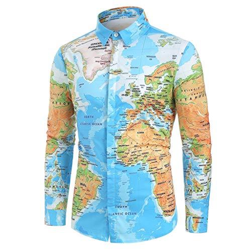 Men Hawaiian Shirt Long Sleeve 3D Novelty Funny Map Print Slim Fit Beach Paisley T-Shirts (M, Blue)