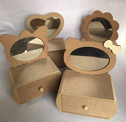 OngHaiY Home Juguete de la Primera Infancia DIY Caja de Almacenamiento de Espejo de tocador de Madera Hecho a Mano (Mariposa)