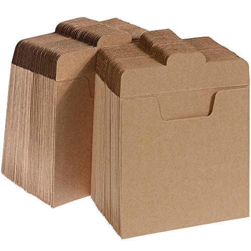 Vastar 100 Packs CD Sleeves Kraft Paper DVD Envelopes, CD Paper Cardboard, Kraft Paper Sleeves
