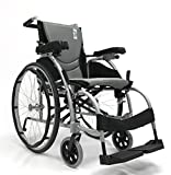 "New Karman S-Ergo 106 ( S-Ergo106F18SS ) Ergonomic Wheelchair with 18"" Seat, Angle Adjustable Backrest and Fixed Footrest in Silver"