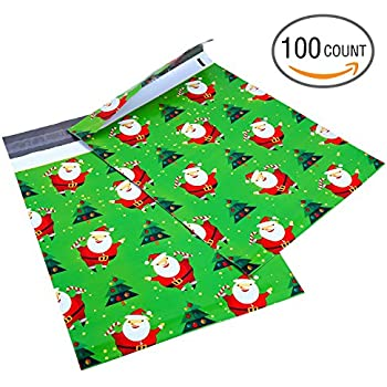 Ohuhu 10x13 100-Pack Santa Claus Designer Poly Mailers Christmas Shipping Envelope Mailer Bags Sealed Christmas Gifts Boutique Custom Bag Xmas Mailer Packages with Self Adhesive Strip, Water Resistant