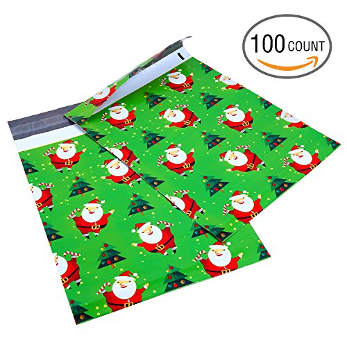 Ohuhu 10x13 100-Pack Santa Claus Designer Poly Mailers Christmas Shipping Envelope Mailer Bags Sealed Christmas Gifts Boutique Custom Bag Xmas Mailer Packages with Self Adhesive Strip, Water Resistant Self Adhesive Media