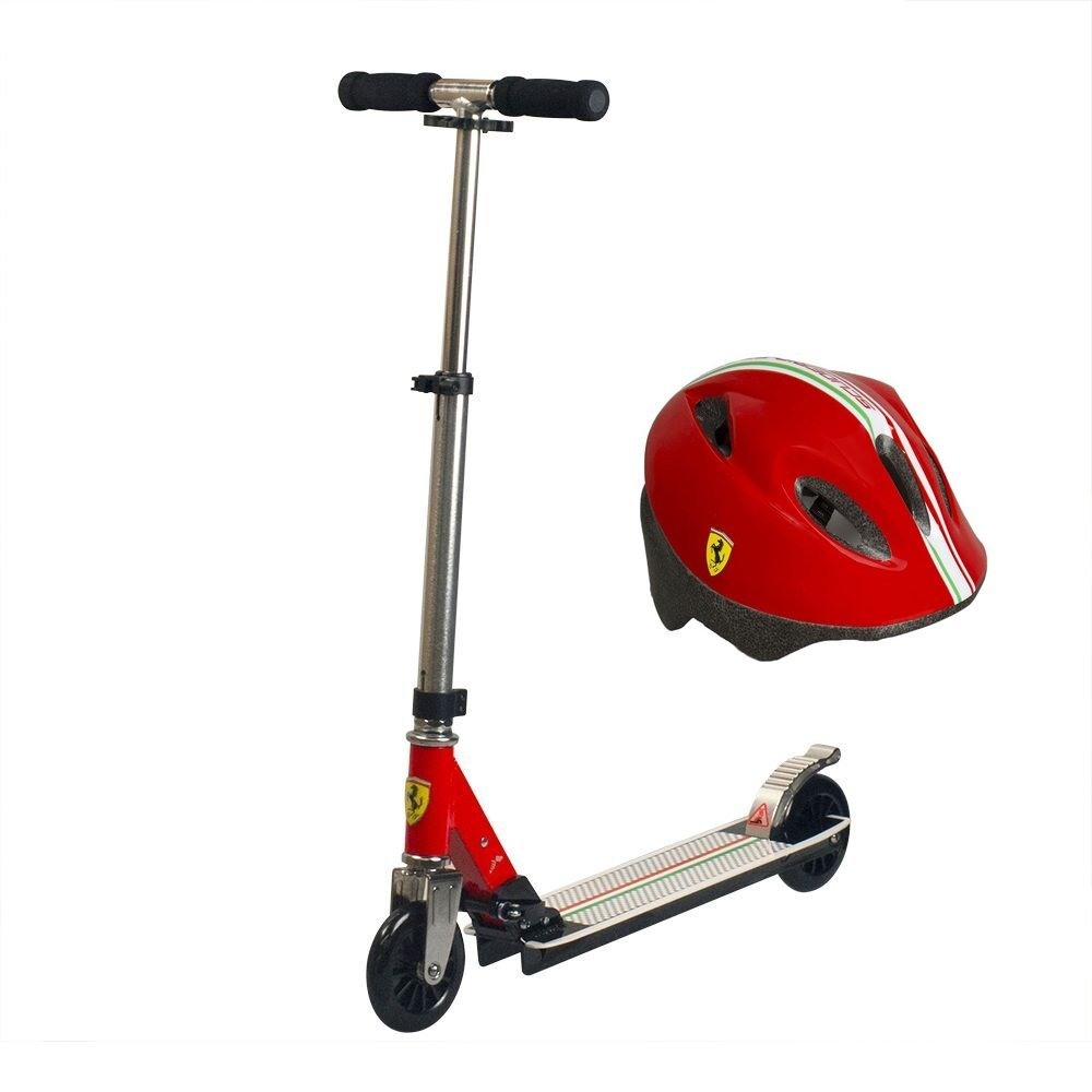 Ferrari Kids 2 Wheels Folding, Premium Pro, Mini Kiddie Kick Scooter (Model: FXA7) Bundled with Premium Squeeze Sports Water Bottle (Black and Red)
