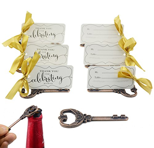 (Aokbean 50pcs Multi Function Vintage Skeleton Key Bottle Opener Place Card Holders for Weddings Table Name Cards for Guest Souvenir French Ribbon (Antique Copper))